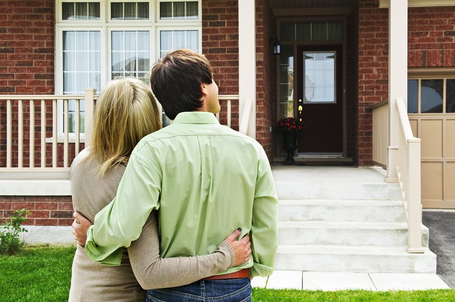 Homeowners, Realtor, Home Inspection, Happy Couple In Front of Home