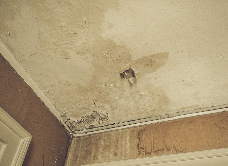 Vintage looking Damage caused by damp and moisture on a ceiling